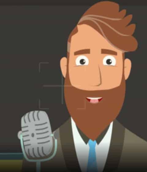 Animationsvideo med animeret mand